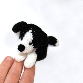 Border Collie SHEEP DOG, tiny crochet dog, amigurumi DOG doll, miniature Collie Dog, little softie doggy, small pet, collectionable dog gift