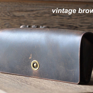 Hand Stitched Vintage Leather Glasses Case -sunglasses cover-eyewear holder
