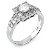 Sterling Silver 0.80 carat Round Cut CZ Halo Engagement Ring Size 5-9