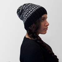 hand knit vegan slouchy fair-isle beanie -- black and white