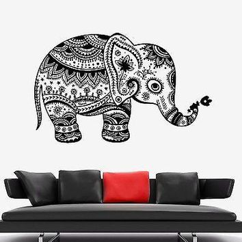 Wall Vinyl Elephant African Symbol Ornament Mural Vinyl Decal Unique Gift (z3343)