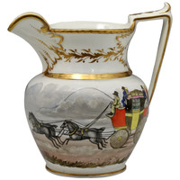 Antique English porcelain pitcher with hand decoarted coaching scene