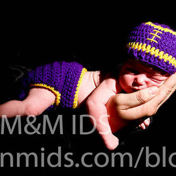 crochet Lsu Football Hat beanie diaper cover by BitofWhimsyCrochet