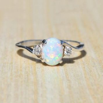 Exquisite Women's 925 Sterling Silver Ring Oval Cut Fire Opal Diamond Jewelry Birthday Proposal Gift Bridal Engagement Party Ban