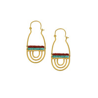 Turquoise and Coral Mayan Earrings