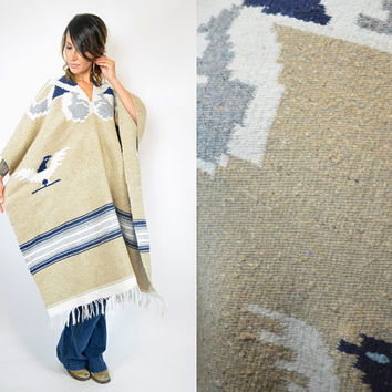 reversible THUNDERBIRD native american BLANKET boho fringed PONCHO cape coat, one size fits all