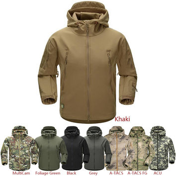 ESDY Outdoor Jacket Coat Water-resistant Luker TAD Shark Skin Soft Shell Hoodie Military Airsoft Camping Hiking Clothing