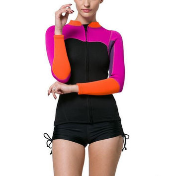 Color Block Rash Guard with Ruched Boy Short Bottoms