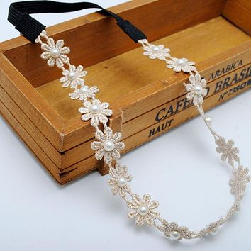 1 Pc Boho Style Beige Lace Flowers Crown Daisy Headbands Garland Chain Hippie Festival Wear Women Hair Accessories For Weddings
