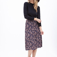 LOVE 21 Button-Front Floral Midi Skirt Purple/Cocoa