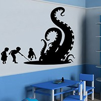 Children Wall Decal Octopus Tentacles Fish Deep Sea Ocean Animals Vinyl Sticker Decals Nursery Decor Art Bedroom Design Interior C96