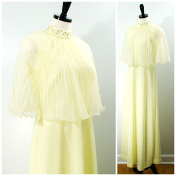 Yellow Bridesmaid Dress, 1970s Yellow Maxi Dress Pleated Chiffon Capelet, Prong Set Rhinestone Pearl Maxi Formal Gown Size L, Yellow Wedding