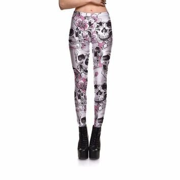 ONETOW Punk Style Women Ankle Length Skeleton Skull Flower Legging Halloween Club Party Gifts For Female Sexy Leggings Clothes