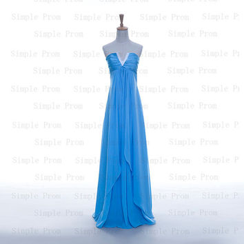Custom A-line V-neck Floor-length Sleeveless Chiffon Pleated Fashion Prom Dress Bridesmaid Dress Formal Evening Dress Party Dress 2013