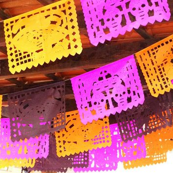 Halloween Banner Papel picado Day of the Dead Banner, Dia de Muertos decorations garland 16 Ft