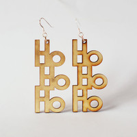 Christmas Earrings HoHoHo - Laser cut wooden earrings