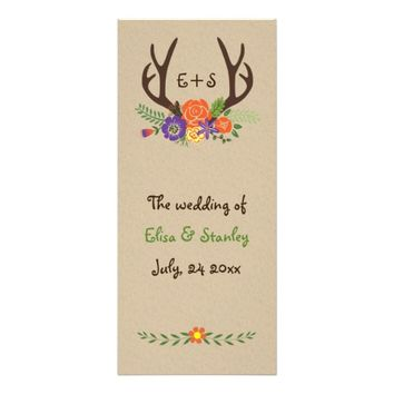 Antlers & orange, purple flowers wedding program customized rack card