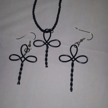 Black wire twist wrapped cross necklace and earring jewelry set