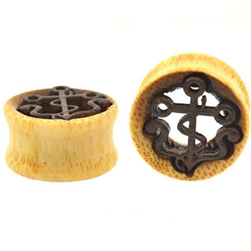 Pair (2) Organic Wooden Tunnels w/Vintage Carved Anchor Ear Plugs Gauges - 11/16 Inch (18mm)
