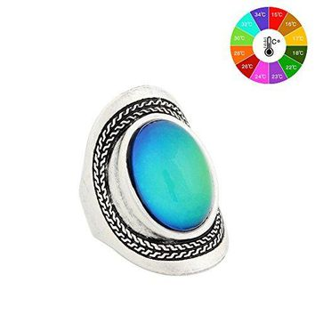 MOJO JEWELRY Handmade Unique Pattern Antique Sterling Silver Plating Oval Stone Color Change Mood Ring MJRS020