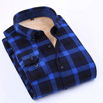 Winter Warm Flannel Men's Plaid Shirt Long Sleeve Fashion High Quality Cotton Button-down Thick With Velvet Men Casual Shirts