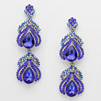 Evening Double Drop Crystal Earrings BLUE