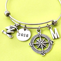 Personalized, Letter, Initial, Compass, Year, 2016, Graduation, Bangle, Bracelet, Class of 2016, High school grad, Gift, Accessory, Jewelry