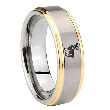 10MM Step Edges Aries Classic 14K Gold IP Tungsten Two Tone Men's Ring