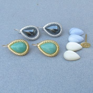Two Pair Set Kenneth Jay Lane KJL Interchangeable Gemstone Vintage Lever Back Earrings