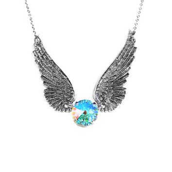 Angel Wing Necklace, Stainless Steel Chain, Multi Color Necklace, Rainbow Swarovski Crystal Clear AB Jewelry, Anniversary Gift For Her