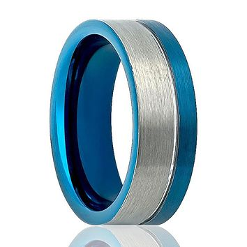 Pipe Cut Two Tone Men's Tungsten Wedding Ring with Off Center Blue Groove & Silver Brushed Finish - 8MM