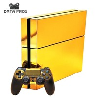 Gold Glossy Protective Vinyl Skin Decal Cover for Sony PlayStation 4 PS4 Console & Remote for DualShock 4 Controller Sticker