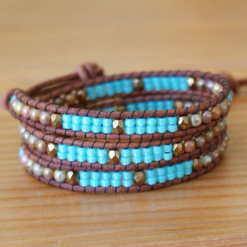 Beaded leather wrap bracelet, Brown picasso, Turquoise, copper, Sea foam, gift idea, antique button, bohemian, hipster by OlenaDesigns