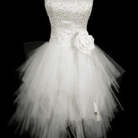 Beaded White Short Mini Cocktail Homecoming Evening Prom Wedding Gown Dress 2015