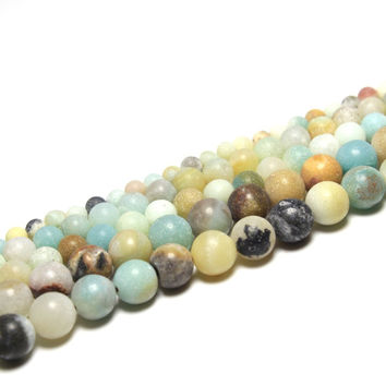 Strand 16'' Mix Color Dull Polish Matte Amazon Natural Stone Beads For Jewelry Making DIY Bracelet  4mm 6mm 8mm 10mm 12mm Beads