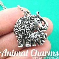 Elephant Mother and Baby Abstract Animal Pendant Necklace in Silver on SALE