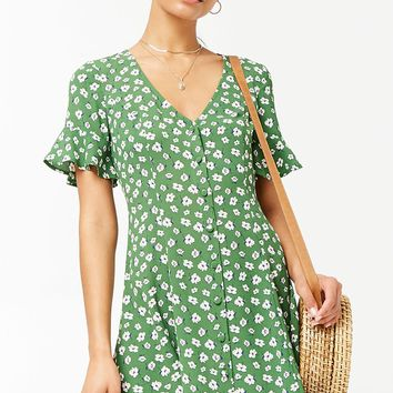 Floral Crepe Swing Dress