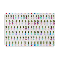"Monika Strigel ""Pineapple People"" White Multicolor Memory Foam Bath Mat"