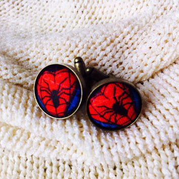 The Amazing Spider Man Fabric Button Cuff Links, Superhero Cuff Links, Cosplay, Comic Con Cuff Links, Superhero Wedding