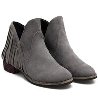 Gray Tassel Design Ankle Boots With Suede
