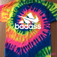 Bad Ass Tie Dye T-shirt, Nike T-shirt, Adidas tshirt, Cute Top, Custom Dye, Purple Swirl Tee