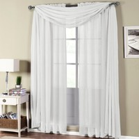 """1 X MONAGIF BLACK Scarf Voile Window Panel Solid sheer valance curtains 216"""" LONG"""