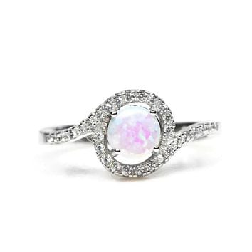 Sterling Silver White Opal Halo Swirl Ring S&J
