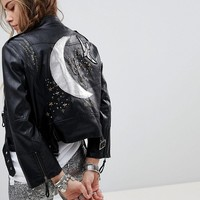 Native Rose Faux Leather Biker Jacket With Celestial Back Panel at asos.com