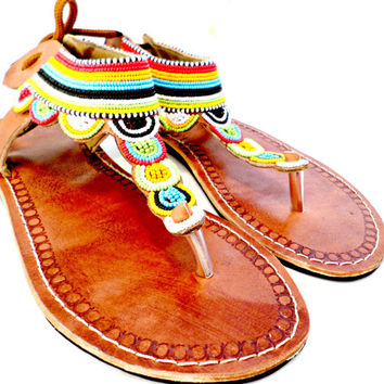 Maasai sandals beaded fair trade Kenya women's shoes handmade leather summer fashion hipster hippie bohemian