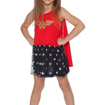 DC Comics Wonder Woman Girls' Roller Derby Tank Gown with Cape
