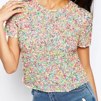 ASOS T-Shirt In All Over Neon Sequins