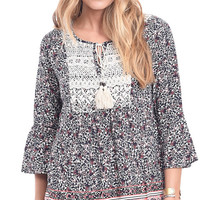 Secret Garden Floral Print Peasant Top