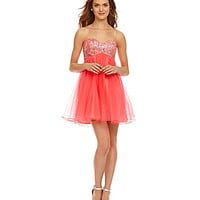 Masquerade Hologram-Sequin-Bust Party Dress - Neon Coral