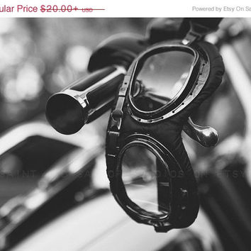 FLASH SALE til MIDNIGHT Motorcycle Halcyon Goggles Black and Whtie FineArt Print,Wall Decor, Wall Art, Gift Ideas, Home Decor, Photography